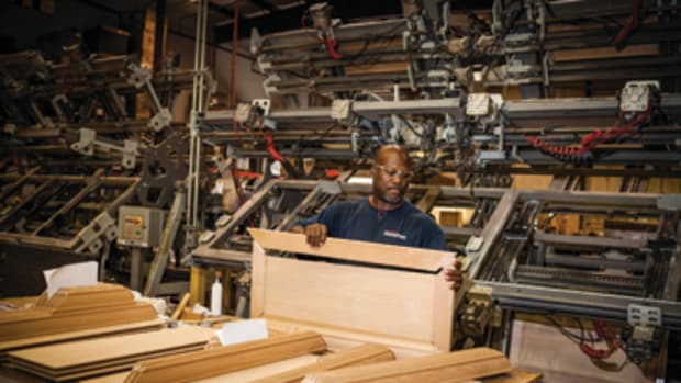 Cabinet doors are assembled at Hardware Resources.