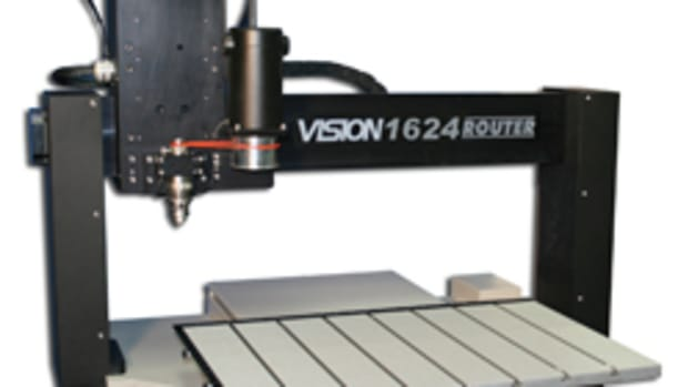 "Model 1624R from Vision Engraving and Routing Systems features a 16"" x 24"" aluminum T-slot table."