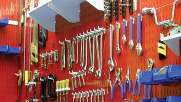 Proper tool storage will improve a shop's work flow. This metal peg board is available from Wall Control Storage Systems.