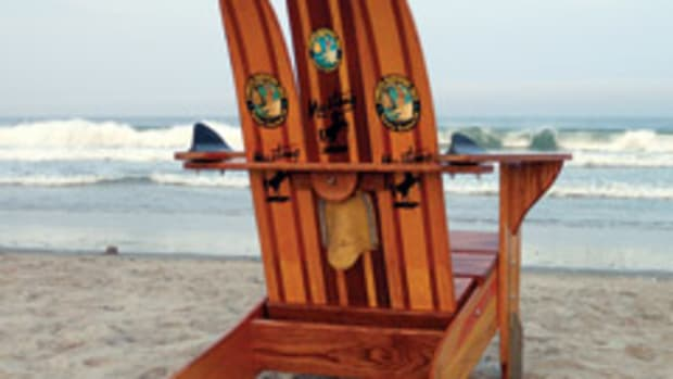 Brian Amaral turns vintage water skis into furniture through his business, Water Ski Adirondack Chairs, in Kingston, R.I.