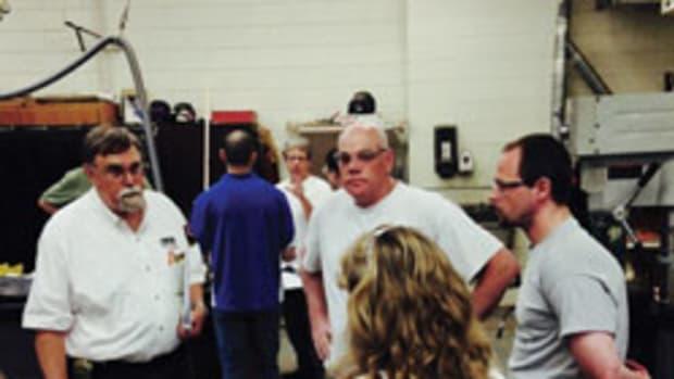 Greg Heuer of WCA (at left) explains an evaluation procedure to instructors (from left) Eugene Reid of Canaan Memorial High School, Matthew Stark of St. Johnsbury Academy and Kim Sweatt of Canaan Memorial High School.