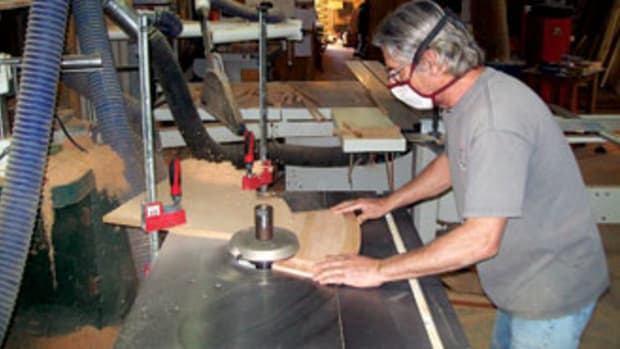 Rob Durfos uses the shop's Mini Max T-130 shaper.