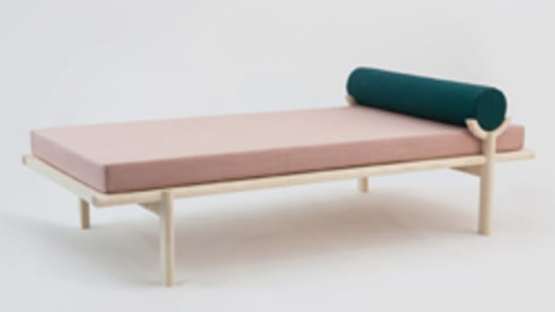 """""""Crescent Lounge"""" by Katrina Vonnegut, on display at the """"Contemporary Wood Design"""" exhibit."""