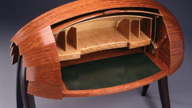 "Jere Osgood's ""Spring Desk,"" featuring bubinga and wenge."