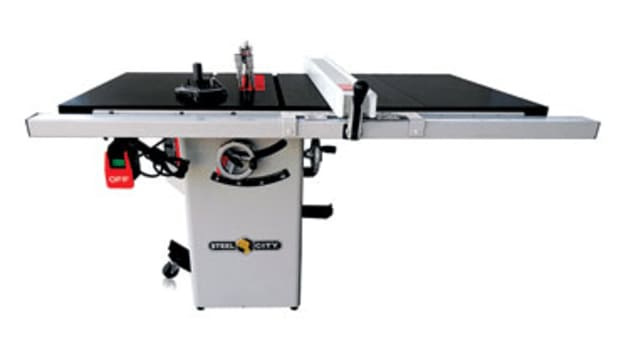 "The Steel City model 35950C 10"" table saw with cast-iron top."