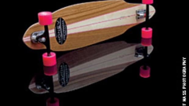 Mike Mahoney of Honey Skateboards in Grand Junction, Colo., builds skateboards using exotic woods and laminated construction methods.