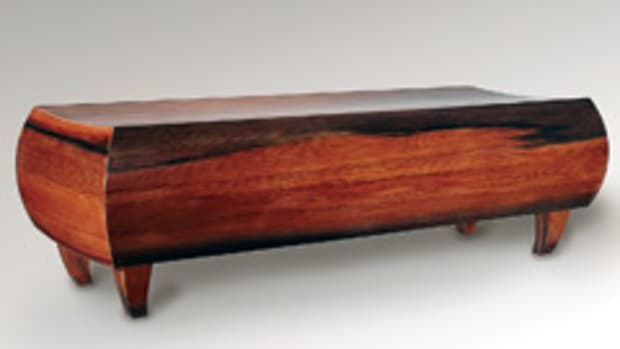 David Stetson's bench made from reclaimed redwood.