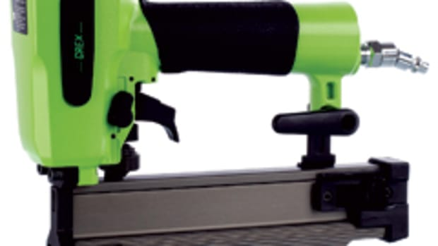 "The Grex 18-gauge 2"" brad nailer, also known as the ""Green Buddy."""