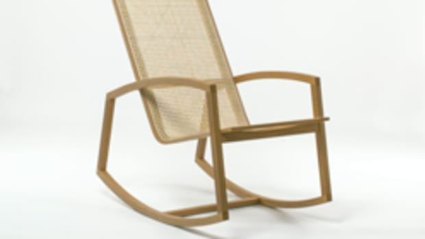 """Linda Lou Rocker"" in oak by Leslie Webb."