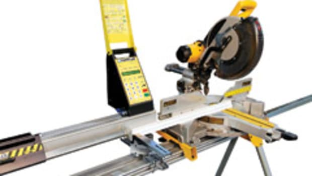 SawGear, from TigerStop, is an automated length-measuring system for a miter saw.