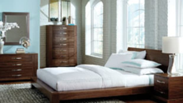 A bedroom set created with the YouBuild program, which allows retail customers to select from a variety of different materials and order pieces online.