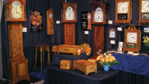 Leonard Marschark's clocks and booth at April's show.