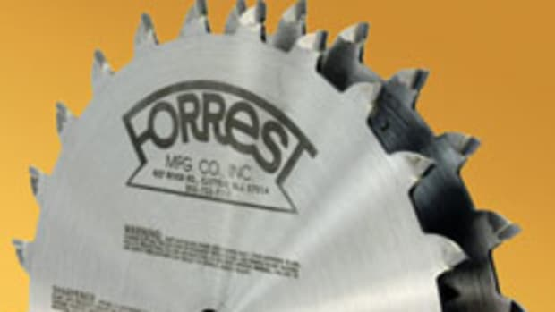 "Among Forrest Manufacturing's new blades is this 8"" diameter thin kerf dado set (DK0824316) that was designed for clean-cutting 3/16"" wide grooves."