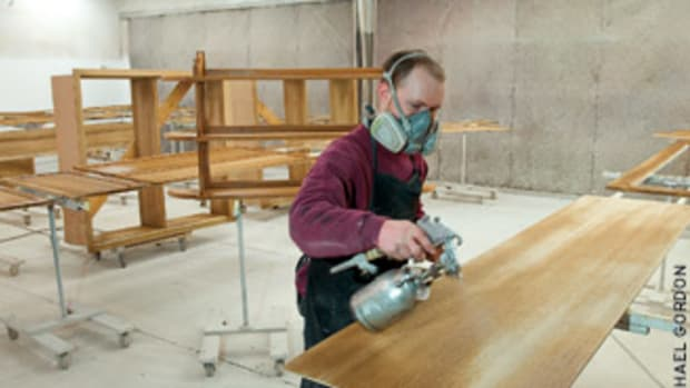The finishing booth at Jutras Woodworking in Smithfield, R.I.