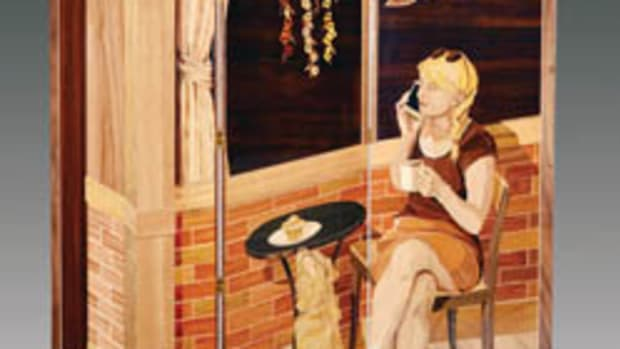 "Folding screen, Silas Kopf, ""Two Blondes and a Brioche (at the Bistro)."""