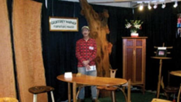 Exhbitor Geoffrey Warner at his booth at the Fine Furnishings & Fine Crafts Show in Providence, R.I.