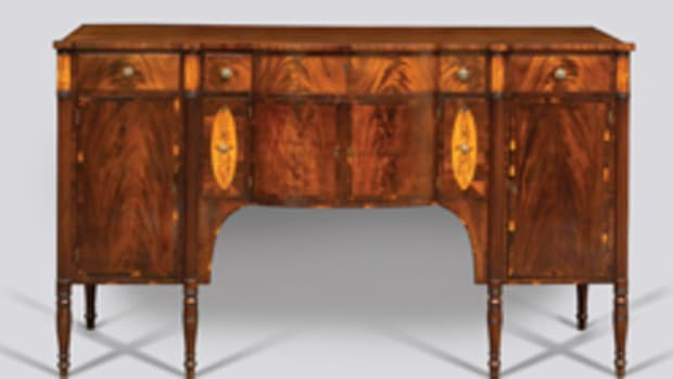 The Portsmouth exhibit features this sideboard (Portsmouth, circa 1815); side chair (New York, New England, possibly Portsmouth, 1815–30), and high chest of drawers (Joseph Davis, Portsmouth, 1735-45).