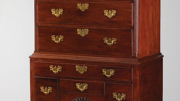 The Yale University exhibit includes this Newport high chest of drawers by John Townsend.