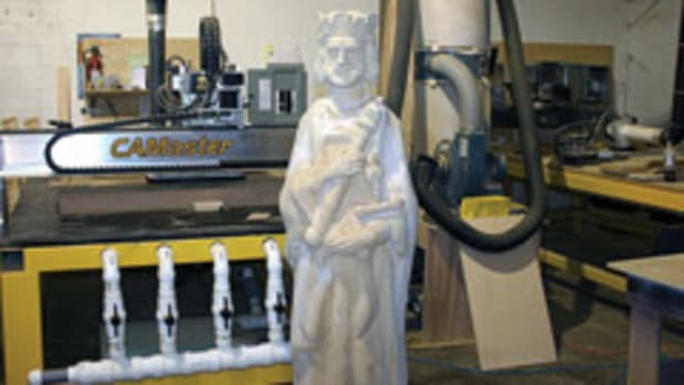 "Jim McGrew used one of his CAMaster CNC machines to build this 6'3"" king for a chess set."