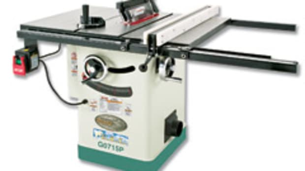 "Grizzly's new Polar Bear series includes two new machines, a 10"" 2-hp 'hybrid' table saw and 12"" 'baby' drum sander."