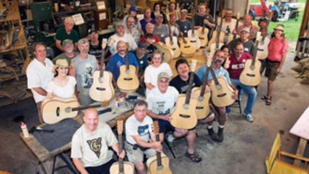 Eighty volunteers completed 20 guitars in two days.