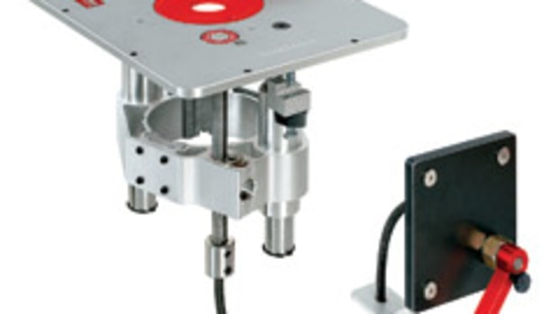 The Sidewinder 420 Router Lift, available from Woodcraft Supply.