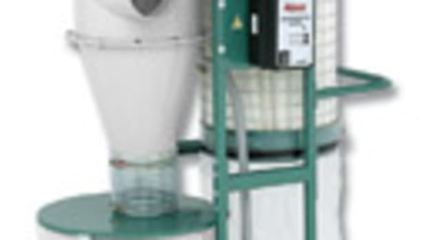 "Grizzly's new cyclone dust collector, model G0703, has a height of only 65-1/2""."