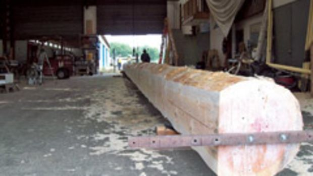A 117'-long Douglas fir was located in Porter, Wash., to be the mast for the Zodiac schooner.