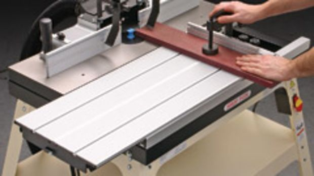 """The Shop Fox W1728 router table includes a 31"""" x 12"""" sliding table with a clamping miter gauge."""