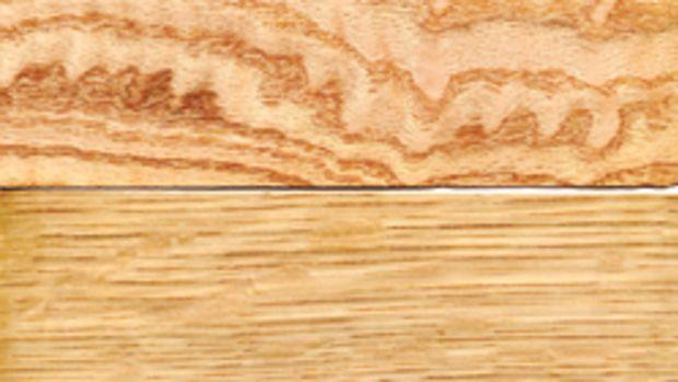 Figured red oak (top) and quartered white oak.