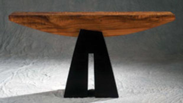 """Richard Vasquez's koa and mango wood table """"One"""" won the Hawaii's Woodshow Best of Show award."""