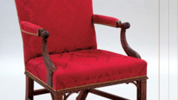 Tony Kubalak's French open-arm chair, winner of best hand work award at the Northern Woods Show.