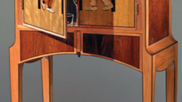 Sila Kopf's new marquetry cabinet, Checkmate has eight hidden, but functional, compartments.