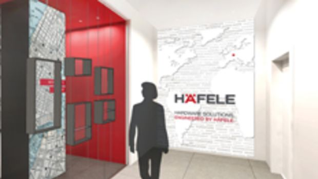 The entrance to Häfele's showroom.