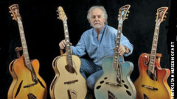 """John Monteolone of Islip, N.Y., with his set of four archtop guitars called """"Four Seasons."""""""