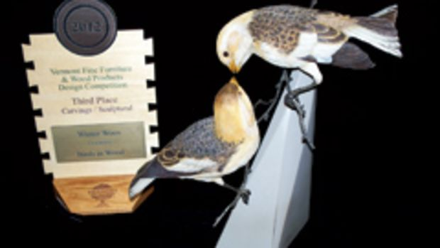"""Winter Woods"" by Jim Maas of Birds in Wood in Morgan, won third place in the carving category."