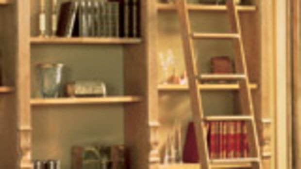 """The """"Classic No. 1"""" is the most popular seller, a rolling library ladder offered in many different hardwoods and finishes."""