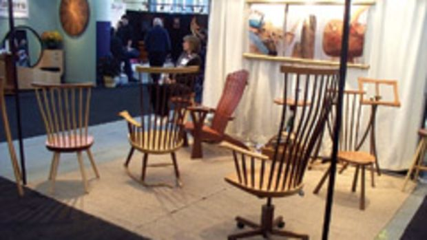Furniture maker Michael Brown's booth at the Philadelphia Invitational Furniture Show.