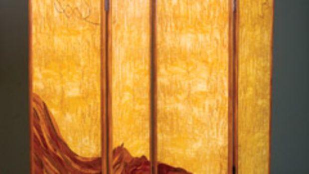 """""""Screen"""" by Virginia Blanchard of Pelham, N.Y., made with mahogany, masur birch burl and various veneers."""