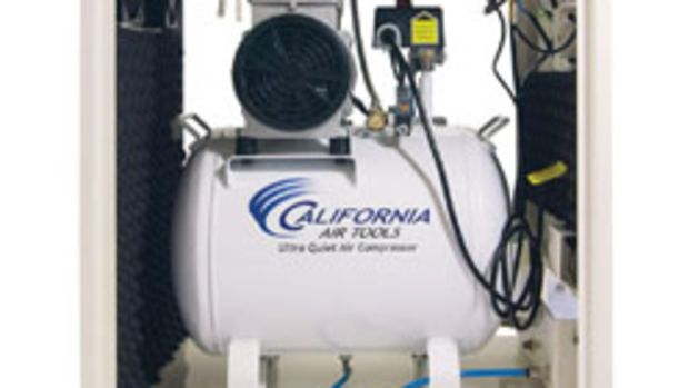 A 2-hp compressor inside a sound-proof cabinet, from California Air Tools.
