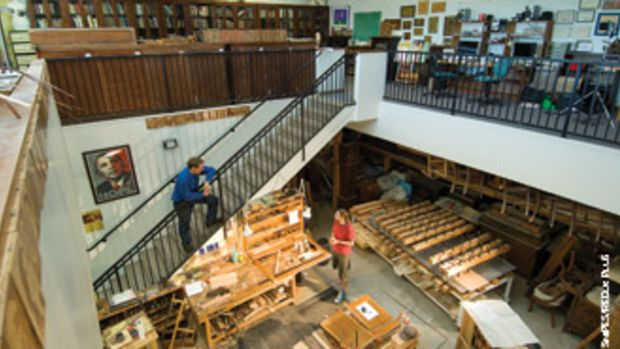 Edwards and partner Patrice Lejuene in their San Diego shop, which produces marquetry work.