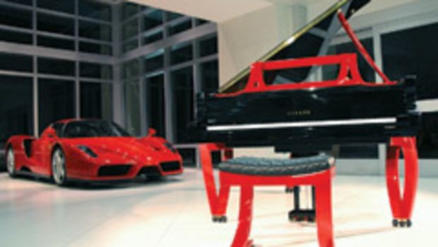 The Grand Rossa piano from ResInno is named after Ferrari's 1957 Testa Rossa race car and painted in the iconic Ferrari red.