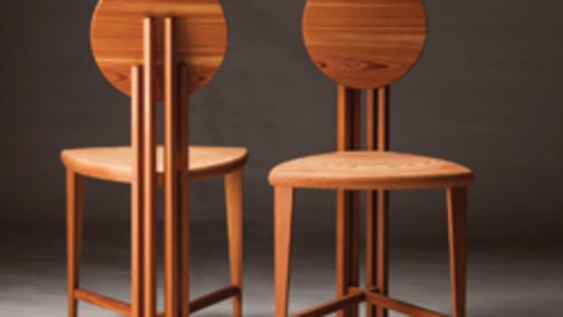 Furniture pieces in the juried Reynolds Fine Art Gallery exhibit include these circle-back chairs by Greg Lipton.