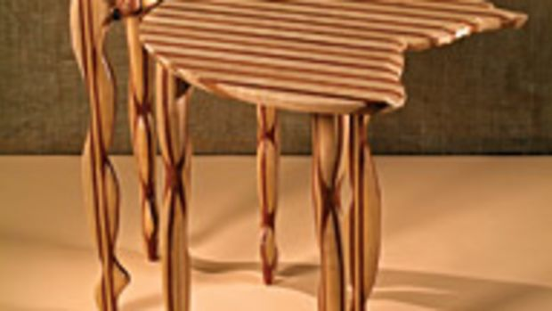 Philips Bosen's exotic animistic furniture designs are accentuated with contrasting colors.