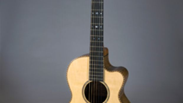 """""""Serendipity"""" by David Gomes won the musical instrument category at the 2015 Hawaii Woodshow. It was made from Engelmann spruce, koa, Honduras mahogany, kiawe, ebony, cocobolo, milo and Portuguese cypress."""