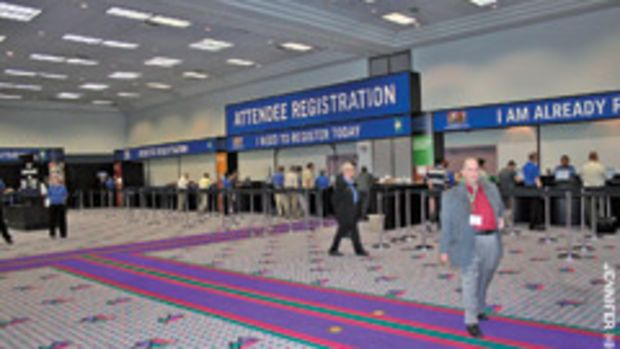 The registration lines were short at the AWFS fair, with attendance reportedly down about 50 percent.