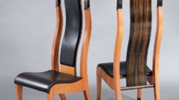 """Chairs by Wendy Stayman, part of the """"Furniture Divas"""" exhibit at the Fuller Craft Museum."""