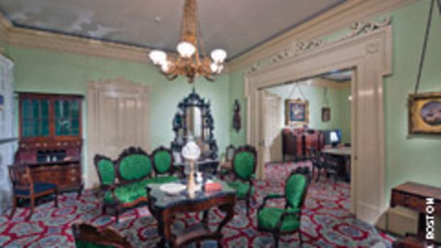 These two period rooms were originally part of the Roswell Gleason House, known as Lilacs, which was built around 1840 in Dorchester, Mass., and represent the furnishings of a typical room for a prosperous mid-19th century Boston-area family.