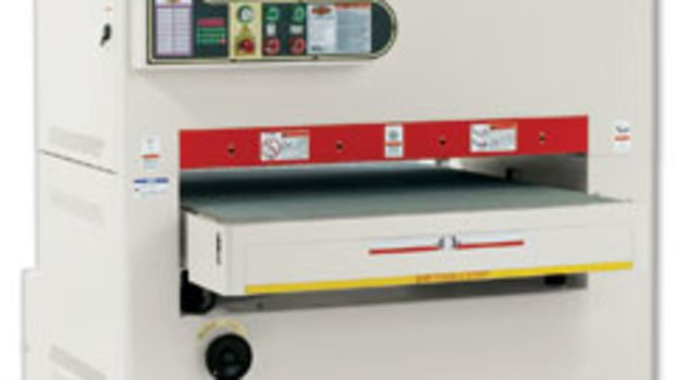 The Shop Fox wide belt sander allows for single-pass sanding with two different grits.