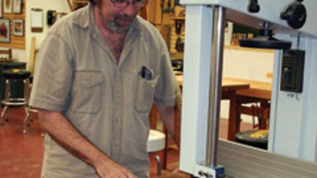 Bob Van Dyke, founder and director of the Connecticut Valley School of Woodworking, prepares materials for an upcoming class.